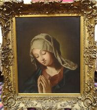Fine 17th Century Italian School Old Master Madonna Praying Antique Oil Painting