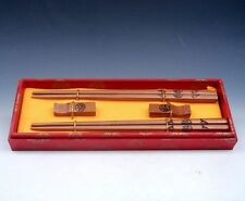 "Gift Set 2 Pairs Blessing Characters ""FU"" Painted Wooden Chopsticks w/ 2 Holders"