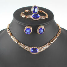 Fashion Gold/Plated Sapphire Crystal Necklace Earring Party Gift Jewelry Sets