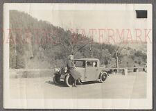 Vintage 1930s Photo Man & Pretty Girl w/ Tiny German Micro Car 714085