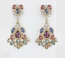 Romantic NWT $24 Faceted Faux Crystals Dangling Chandelier Earrings BJ05