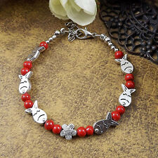 HOT Free shipping New Tibet silver multicolor jade turquoise bead bracelet S65B