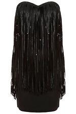 New TOPSHOP beaded tassel dress by Rare UK 10 in Black