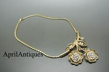 Vintage Crown Trifari gold-tone rhinestone sun flower pat pend necklace
