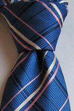 Naraide Royal blue & pink stripes striped all silk tie made in Italy