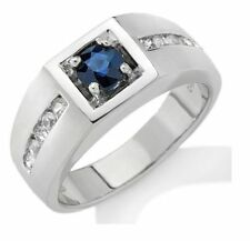 14 k Solid White Gold Natural Gem Stone Sapphire & Diamond Men's Ring Jewelry