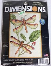 """NEW DIMENSIONS Counted Cross Stitch Kit 65029 DRAGONFLY DUO 5"""" x 7"""" Insects NIP"""