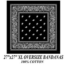 "XL SUPER BIG OVER SIZE BLACK PAISLEY 27"" Bandanna Cotton BANDANA HEAD Wrap Scarf"