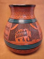 Navajo Indian Pottery Hand Etched Bear Pot by Watchman! Native American