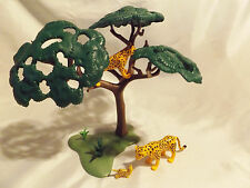 Playmobil Cheetah Leopards w/ Cub, Tree Landscape, for Safari, Zoo, Ark Animals