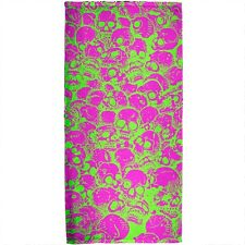 Green & Pink Skull Pattern All Over Plush Beach Towel