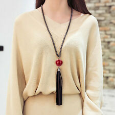 Hot Charm Beads Leather Tassels Pendant Long Chain Sweater Necklace Jewelry