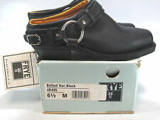 FRYE Women's BELTED HARNESS Black Leather Mule Slip On Size US 6.5 M NEW IN BOX