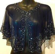 Hand Beaded Shrug Cape Wrap Stole Bolero - Navy Blue - Brand NEW - One Size