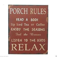 "Attraction Design 13"" Metal Antique Wisdom Sign ""PORCH RULES"" Wall Plaque Gift"
