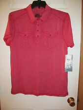 NWT Men's Designer Chalc Red Short Sleeve Collard Polo Pullover Sz Medium
