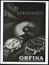 1940's Old Vintage 1947 Orfina Chronograph Watch Mid Century Modern Art Print AD