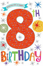 Wishing You a Happy 8th Birthday Bright Party Popper Design Happy Birthday Card