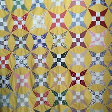 Vintage Yellow King David's Crown Star Quilt Top in Feedsack & Novelty Fabrics