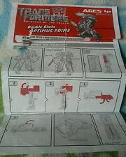 TRANSFORMERS ROTF DOUBLE BLADE OPTIMUS PRIME INSTRUCTION BOOKLET ONLY