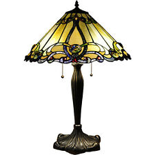 "Stained Glass Gold Shade Victorian Tiffany Style Antique Table Lamp Beige 26"" H"