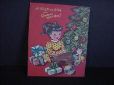Vintage 1950s Pollyanna CHRISTMAS Card-Girl Plays Toy PIANO-Opens Gifts-Unused