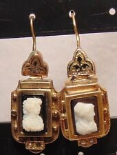 Victorian Art Deco 10k Solid Rose Gold Hardstone CAMEO Dangle Earrings Pierced