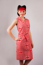 50s 60s vintage red & white gingham patchwork dress rockabilly retro