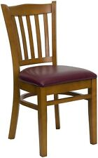 Restaurant Cherry Wood Dining Chairs, thick burgundy padded seats commercial
