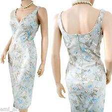 DOLCE & GABBANA D&G light blue hummingbird floral print 50s DRESS size 8 4 40