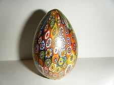 GORGEOUS VTG MILLEFIORI MURANO ART GLASS EGG PAPERWEIGHT MULTI COLOR GOLD ITALY