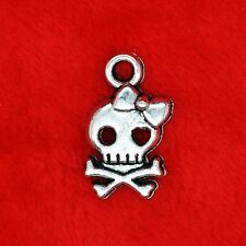 10 x Tibetan Silver Funky Skull with Bow Charm Pendant Jewelry Making Craft