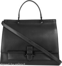 Karen Millen Structured Leather Large Shoulder Tote Office Document Black Bag