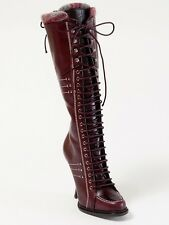 New  Dior Montagne Burgundy Hand Made  Leather Boots 39 US 9