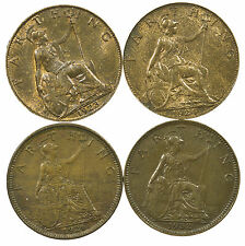 GREAT BRITAIN, GEORGE V FARTHING SET, 4 COINS, SOME LUSTRE, 1923-1932