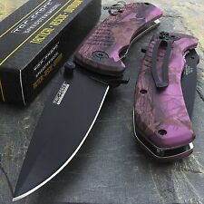 "8"" TAC FORCE EDC PURPLE CAMO SPRING ASSISTED TACTICAL POCKET KNIFE Blade Assist"
