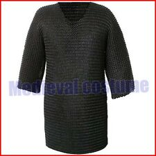 Medieval Chainmail Shirt Rust Proof Black Plated Butted Chain Mail Hauberk f9@u