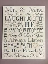 New MR AND MRS SENTIMENTAL WALL HANGING PLAQUE Wedding Marriage Bride and Groom