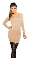 Damen Strick Kleid Strickkleid Stachel Nieten Pullikleid S 32 34 Long Pullover