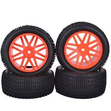 4PCS RC 1:10 Off-Road Buggy Car Front&Rear Tyres Tires Wheel Rim Red 66045-66055