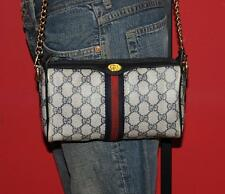 Vtg GUCCI Small Signature Navy Mini Monogram Cross Body Satchel Purse Bag ITALY