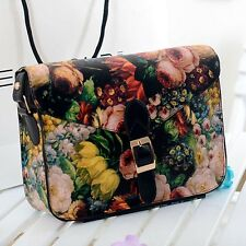 Women Painting Flowers Leather Crossbody Handbag Tote Bags Purse Bag Black Bags
