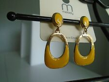 Earring Gold and Yellow Enamel Oval & Squared Oval Post Pierced Dangle