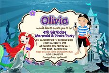 Personalised Birthday Invitations Mermaid and Pirate Party x 5