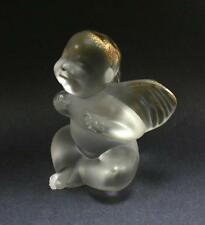SIGNED LALIQUE CRYSTAL GOLD ENAMEL CRYING BABY ANGEL CHERUB FIGURINE PAPERWEIGHT