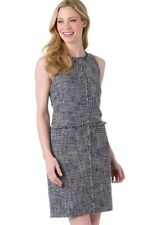 NWT MICHAEL KORS New Navy Multi Fray Trim Sleeveless Tweed Dress Size 8 (#536)
