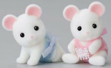 NEW SYLVANIAN FAMILIES 4121 White Mouse Twins - set of 2 Babies 4cm