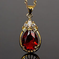 Fashion Jewelry Gift Free Necklace+Pear Cut Red Ruby Yellow Gold Gp Pendant