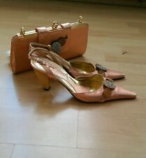 PEACH Vero Cuoio SLINGBACK SHOE WITH RHINESTONE AND MATCHING BAG UK SIZE 7