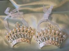 2 METAL CROWN ORNAMENTS~PEARL & RHINESTONES~Shabby Chic~Cottage~French~Crown